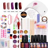 Nail Art Pro DIY Full Set Soak Off Uv Gel Polish Manicure set 36W Curing Lamp Kit any 5 colors&ampbase top Set nail gel nail too