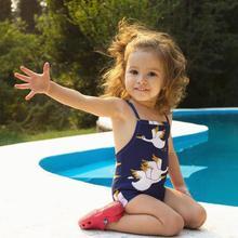 2018 Blue Children Girl Swimsuit One-piece Summer Backless One Piece Swimwear Kids Swimming Costume Baby Girls Bikini Set