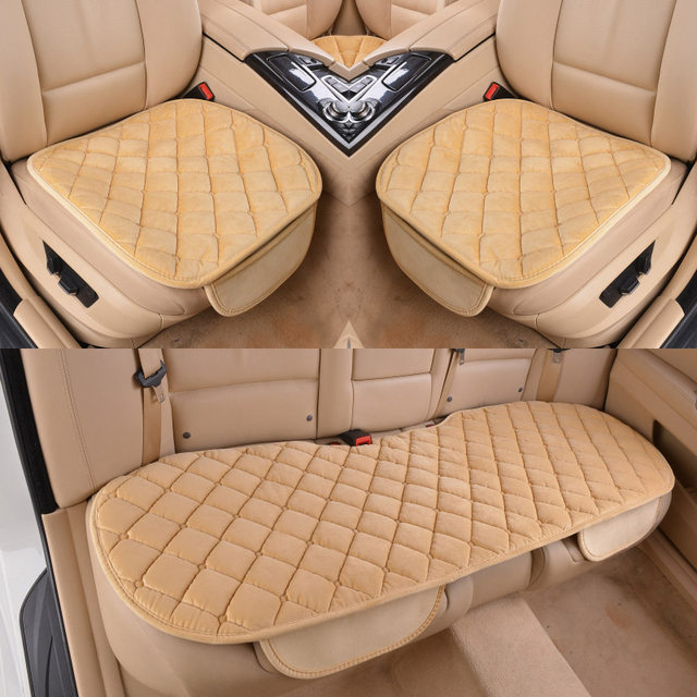 GSPSCN 1pc Universal Lattice Style Car Soft Front Rear Seat Covers Thicken Plush Warm Protector Cushion Auto Interior