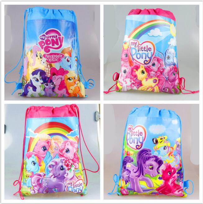 20pc/lot cartoon my little pony children school bags Cartoon Drawstring bag mohila shopping birthday party bag 4 design