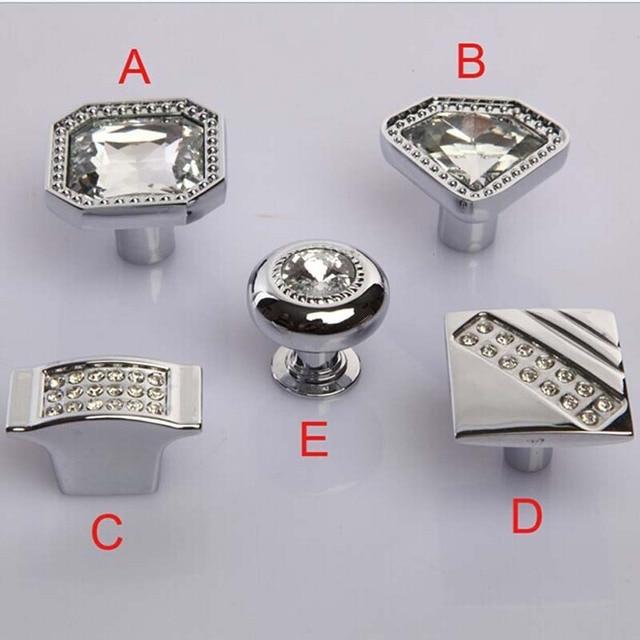 Moda moderna cocina de cristal diamante cajón perilla plata cromo ...