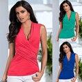 Mulheres Verão Casual T-shirt Azul das mulheres Subiu de Volta Colete Top Sem Mangas T-Shirt das Mulheres Casual Tops Sexy Roupas Femininas Doce Cor