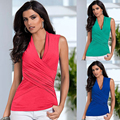 Women Summer Casual T-Shirts Blue Back Rose Vest Top Sleeveless Women's Casual Tops Sexy T-Shirt Women Clothes Candy Color