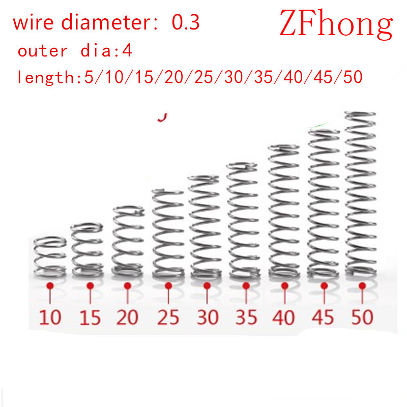 20pcs 0.3*4*5/10/15/20/25/30/35/40/45/50mm  0.3mm Stainless Steel  Micro Small Compression Spring OD 4mm