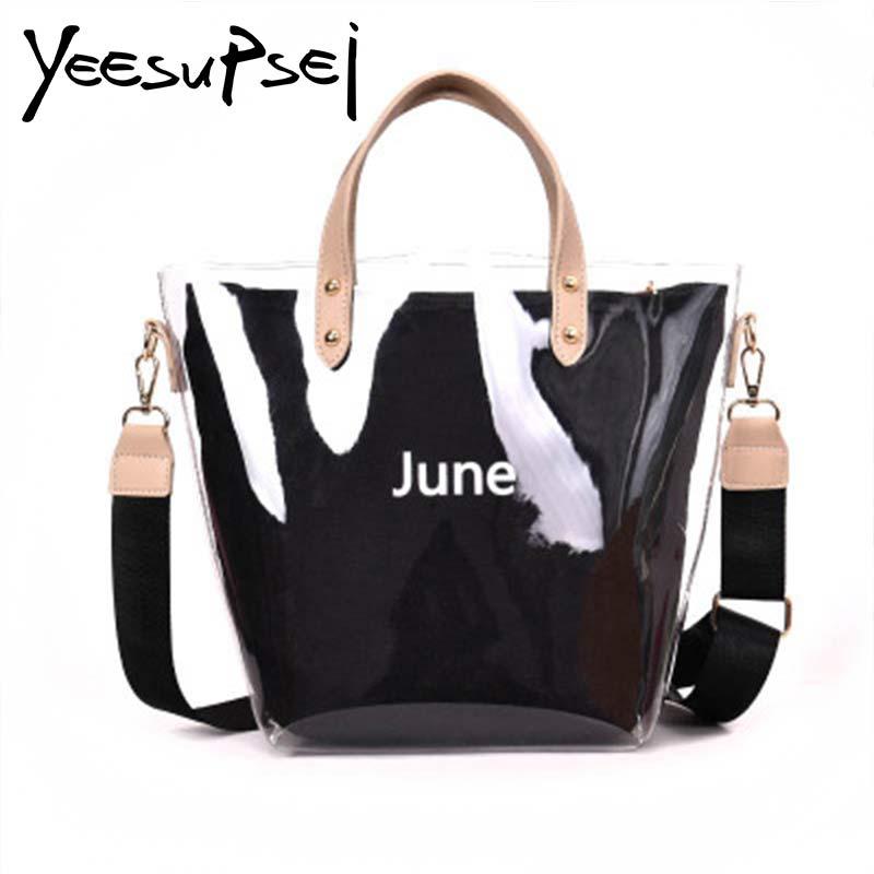 YeeSupSei June Women Transparent Handbag Jelly Women Bag Double Handle Bucket Shoulder Bags Female Shopping Banquet Handbag алиэкспресс сумка прозрачная