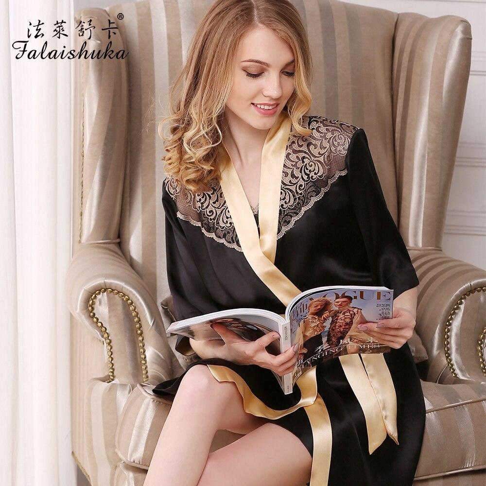 Для женщин шелковый халат и платье наборы для ухода за кожей 2019 черные пикантные халат с коротким рукавом кружево лоскутное ночь пижамы жен
