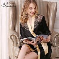 Женский шелковый халат и платье наборы 2019 черный короткий рукав сексуальный халат кружевное лоскутное ночное белье для женщин модный бренд