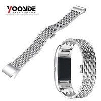 Custom Metal Wristband Stainless Steel Replacement Link Bracelet for Fitbit Charge 2 Watch Bands with Removal Tool