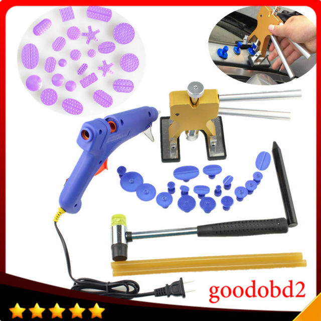 Car PDR Paintless Dent Repair Tools set Dent Removal with 42X Puller Tabs Gold Lifter Rubber hammer+Pen Kit Glue Gun with sticks
