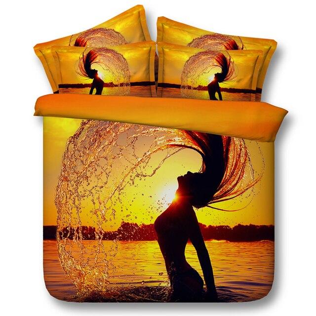 coucher du soleil housse de couette ensembles 3d oc an literie lit feuilles propagation lit dans. Black Bedroom Furniture Sets. Home Design Ideas
