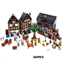 Hot Fortress Castel Series Medieval Market Village Building Block Soliders Lepins Bricks Compatible Lego10193 Toys For