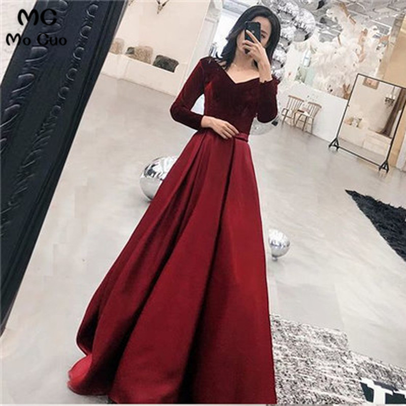 Burgundy 2019 Ready Ship A-Line Gown Prom Dress Long Sleeve 8th Graduation Dress School Dance Dress Prom Dresses For Women