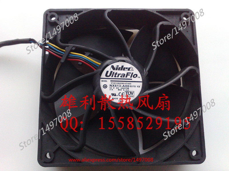 Free Shipping For Nidec  V12E12BSB5-07A02  DC 12V 3A 4-wire 110mm, 120x120x38mm Server Square Fan