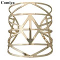 Comiya arm bracelet pulsera fashion gold color hollow out geometric zinc alloy women bangles bracelets cuff bangle wholesale cc