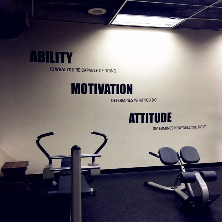 Gym wall decals vinyl poster motivational fitness quotes wall