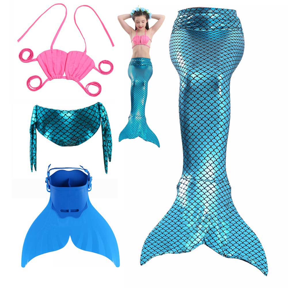 Girls Bikini Tops Shorts And Mermaid Tail Dress For Swimming Dress Kids Princess Mermaid Cosplay Costume Swimsuit
