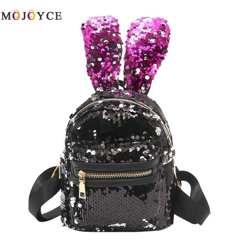 Shining Sequins Mini Backpack Cute Rabbit Ears Shoulder Backpack for Children Girls Lovely Bling Sequins Small Bagpack Mochila