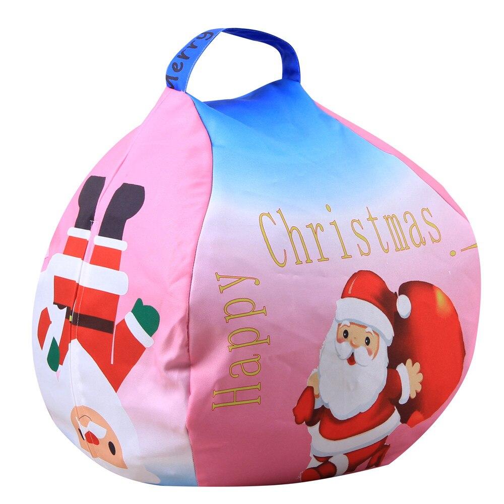 Gelukkig Nieuwjaar 2019 Jaar Vrolijk Kerstfeest Gift Kerst Kids Gevulde Gift Snoep Speelgoed Opslag Bean Bag Zachte Streep Stof Stoel Fijn Verwerkt