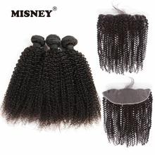 Натуральная человеческих волос кудрявый фигурные пучки волос человека с фронтальной 4X13 закрытия кружева девственной наращивания волос для Для женщин расчесывания