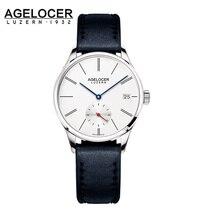Agelocer reloj automático mujeres pulsera de cuero breve swiss made señoras reloj de pulsera negro reloj mecánico reloj reloj mujer