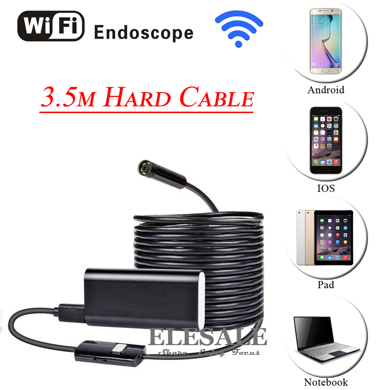 HD 720P 8mm 3.5M Wireless Wifi Android iOS Endoscope Camera Waterproof Hard Cable Inspection Borescope Camera For Car Repair 8mm 1m 2m 3 5m wifi ios endoscope camera borescope ip67 waterproof inspection for iphone endoscope android pc hd ip camera