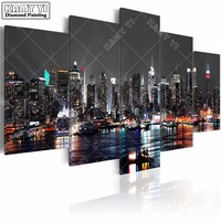Full Square Drill Diamond Embroidery City Night Scene 5D DIY Diamond Painting Cross Stitch Multi