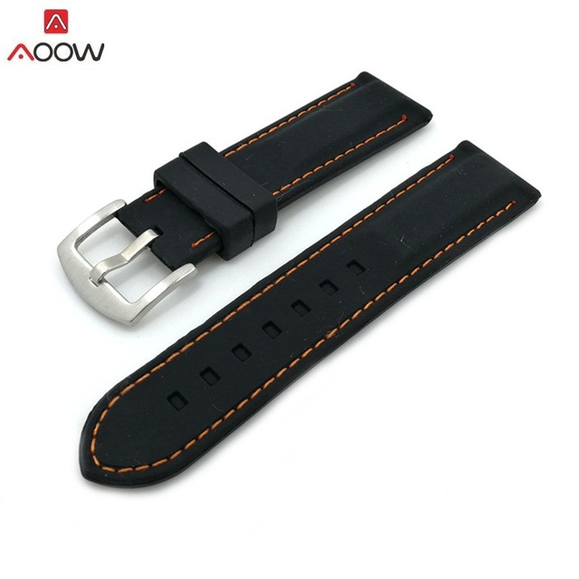 AOOW Generic Watchband Silicone Rubber Watch Strap Bands Waterproof 20mm 22mm 24mm 26mm Watches Belt 1