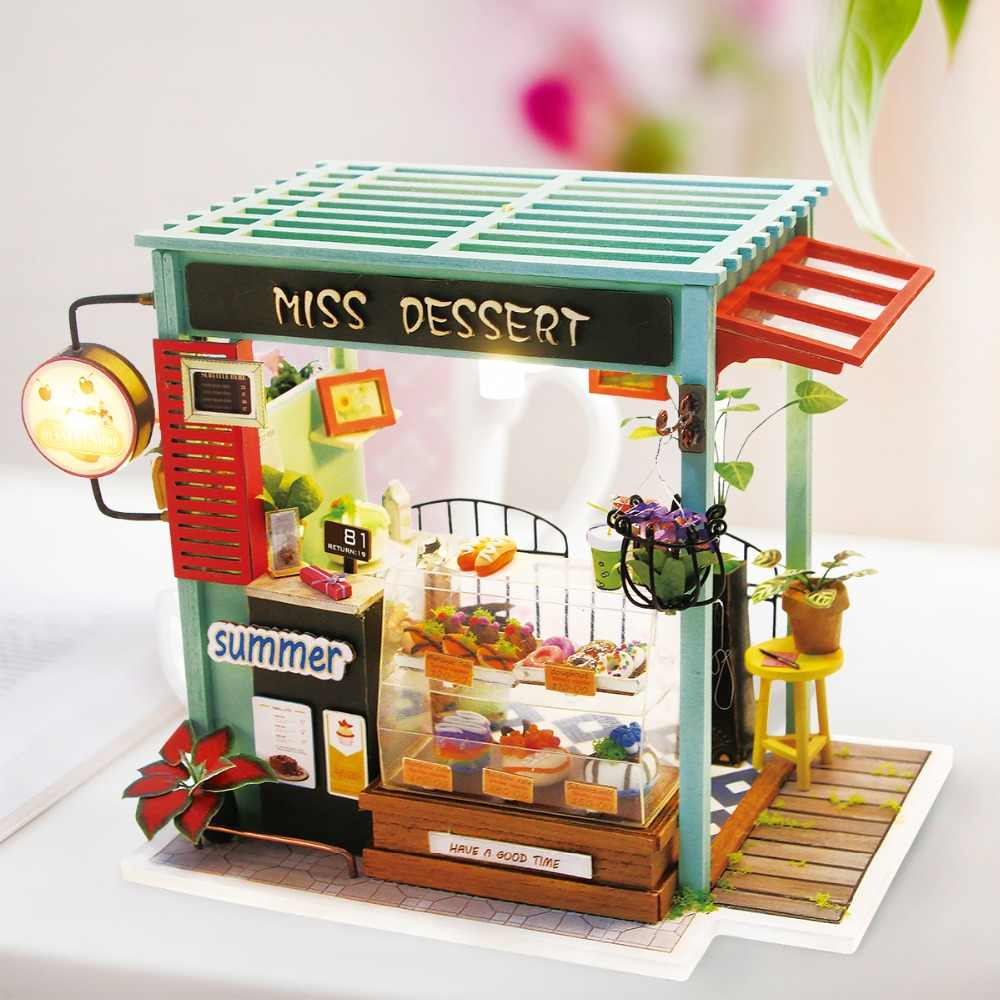 Robotime DIY House Miniature Wooden Dollhouse with Furnitures Model Building Kits Handmade Doll House Toys DGM06 Drop Shipping