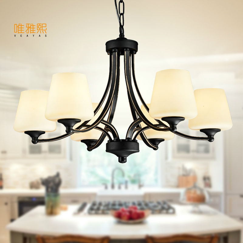 Veayas Glass Shade Iron Chandelier Lighting Fixtures luminaria lustre Ceiling Chandeliers E27 Light for Bedroom living room Lamp