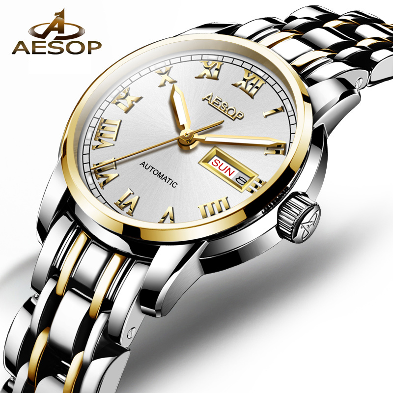 AESOP Top Brand Clock Women Automatic Watches Week Date Mechanical Wristwatch Stainless Steel Strap Bracelet Ladies Watch 9030 цена