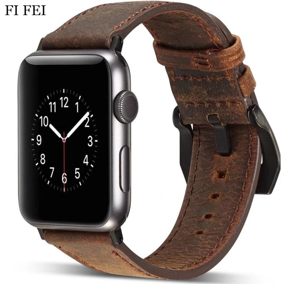 FI FEI NEW Retro Leather Watch Bracelet For Apple Watch Band 42mm 38mm Watch Accessories Series 1 2 3 Wrist Strap Watchbands