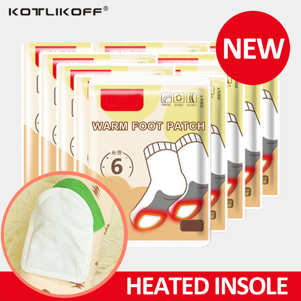 KOTLIKOFF Disposable Automatically Winter Heated Insoles Foot Patch Women Men Heating Warm About 48 Degree Shoe Inserts Foot Pad