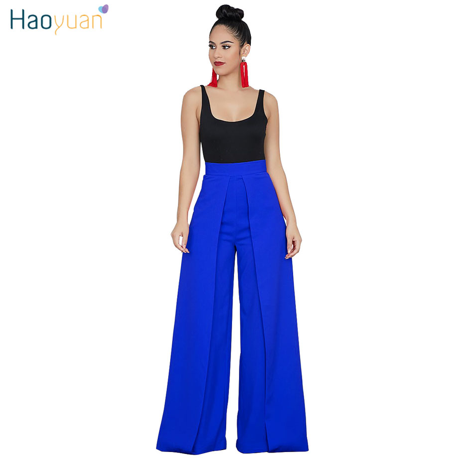 HAOYUAN High Waist   Wide     Leg     Pants   Woman Streetwear Autumn Zipper Fly Elegant Trousers Women Work Wear Casual Loose Palazzo   Pants