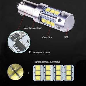 Image 5 - 2 قطعة Canbus خالية من الأخطاء BAY9S BA9S BAX9S H6W H21W T4W XBD رقائق LED عكس أضواء وقوف السيارات أضواء 80 واط الأبيض