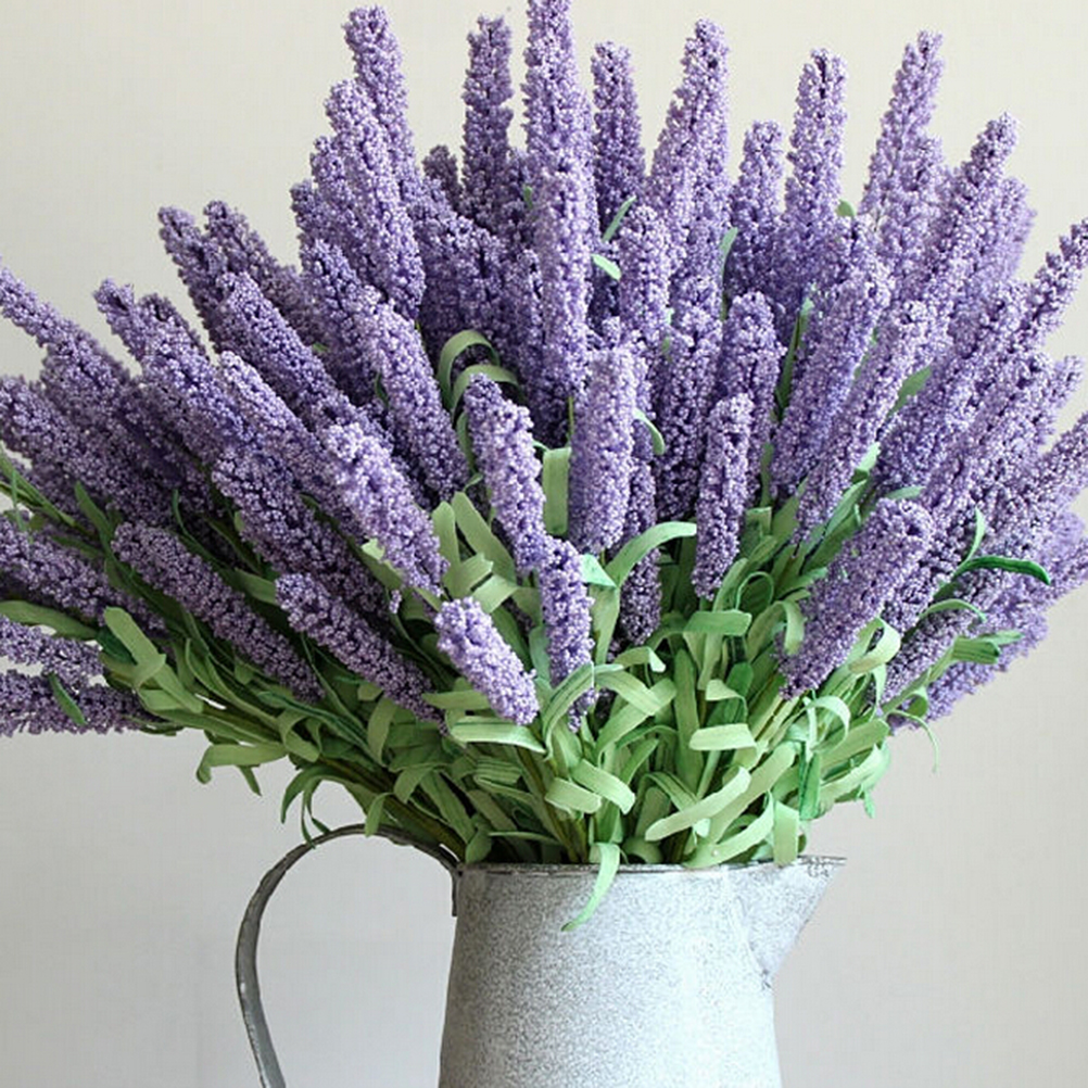 12 Artificial Lavender Flower Leaves Bouquet Home Garden Decorations Wedding Party Supplies Heads thumbnail