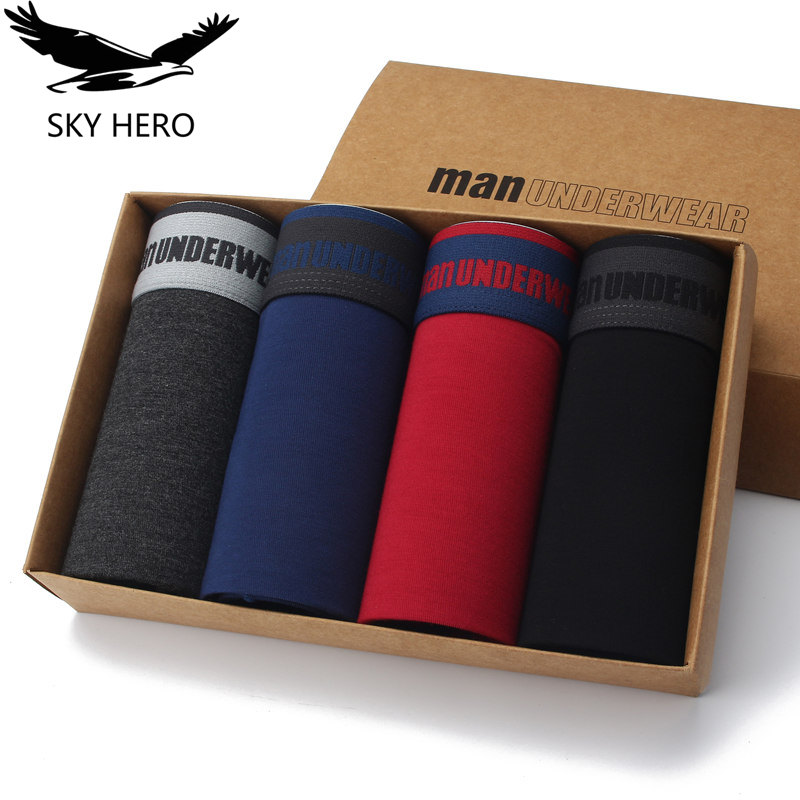 4pieces/lot Underpants Men Underwear Soft Cotton Men's Boxer Shorts Mens Boxers Homme Male Sexy Man Comfortable Male Panties