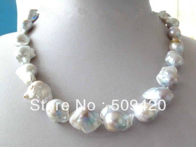 Free ShippingUnusual White & Gray Keshi Keishi Baroque Pearl Necklace