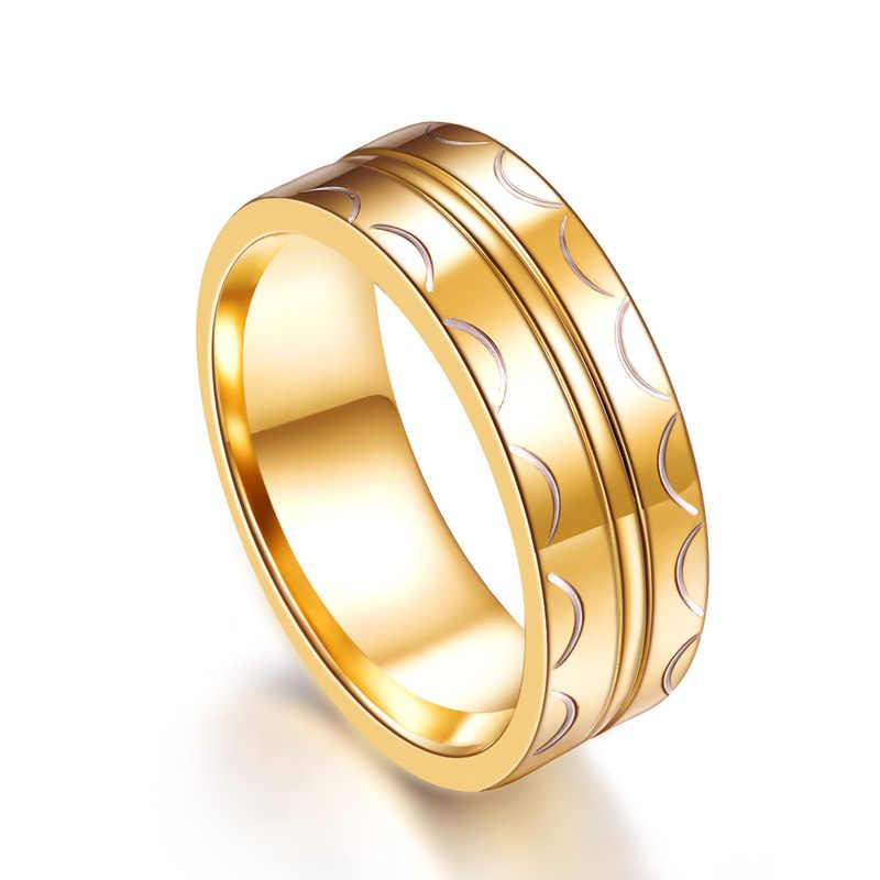 جديد نصف دائرة مطبوعة الذهب اللون الرجال الطاقة خواتم الزفاف مجموعات Chocker Sieraden Aneis Masculino الرجال مجوهرات الزفاف