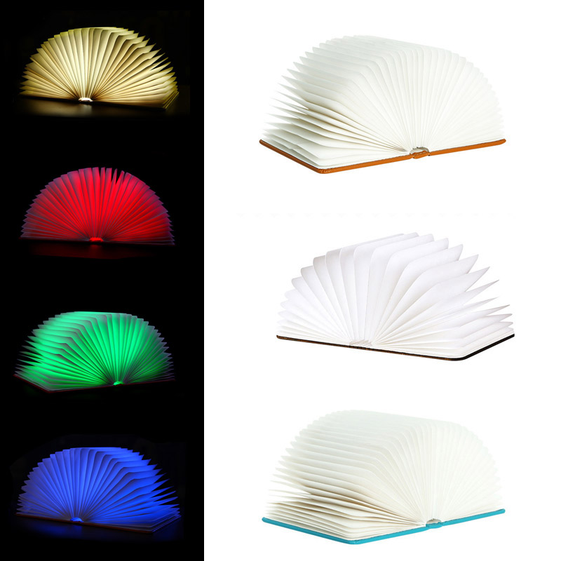 New Design Flip Books Rechargeable LED Folding Book Night Light Chandelier Wall Bedside Decorative Lamp --M25 5 colors foldable book light usb rechargeable chandelier wall led night light bedside lamp for book lover friends christmas gift