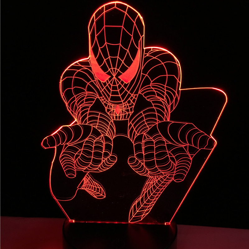 Creative Superhero Cartoon 3D Lamp LED Spider Man Night light USB colorful Mood Table Decorative Kid Room Atmosphere Desk Gifts colorful waterdrop cartoon ombre led night light
