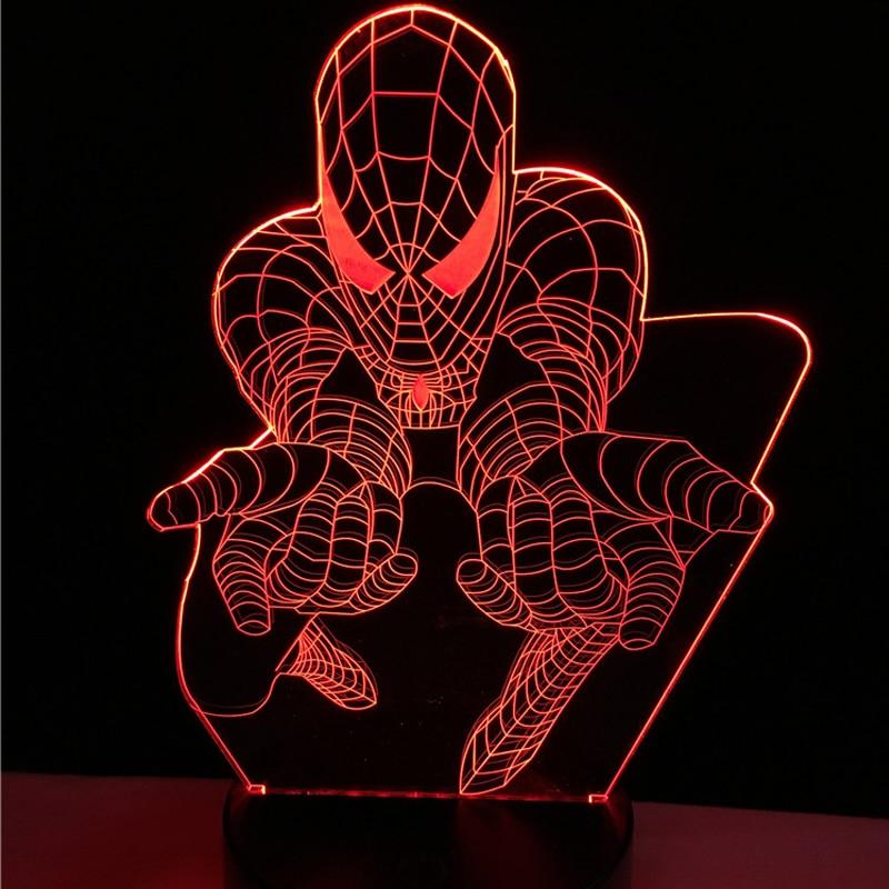 Creative Superhero Cartoon 3D Lamp LED Spider Man Night light USB colorful Mood Table Decorative Kid Room Atmosphere Desk Gifts tt tf ths 02b hybrid style black ver convoy asia exclusive