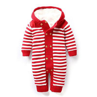 Baby Boys Girls Romper New 2018 Autumn Winter Style Baby Clothes Plus Velvet Warm Newborn Clothing