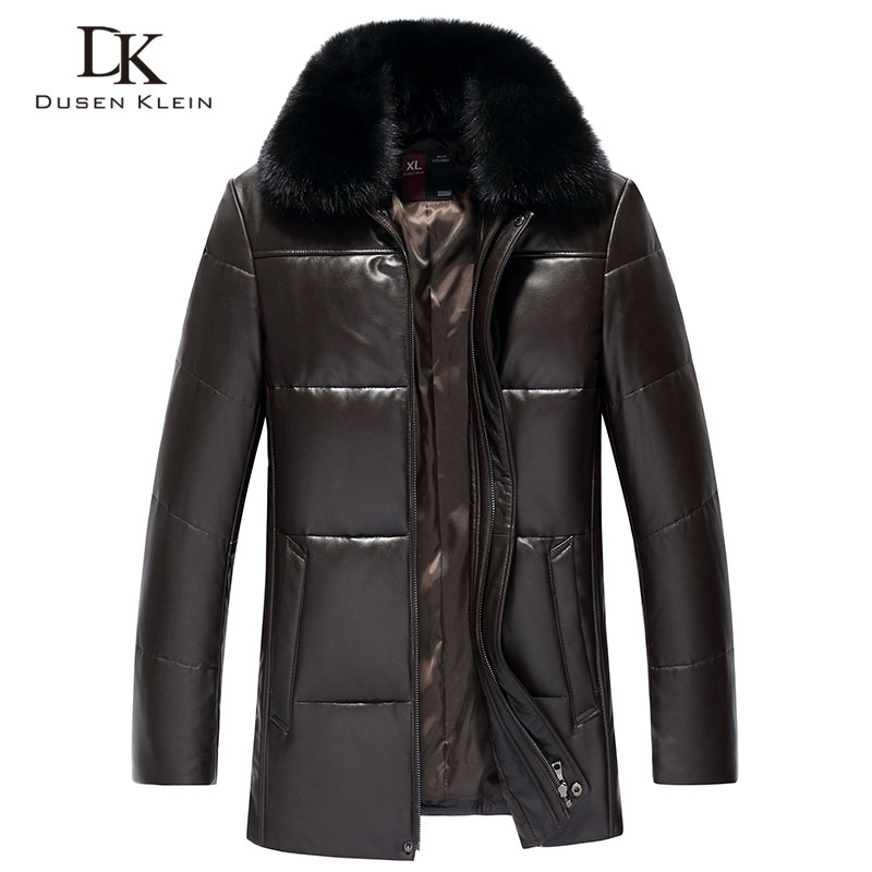 Men s Genuine Leather Down Jacket Winter Warm Short Coat Black Outerwear Sheepskin 2018 New Designer