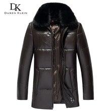 Для Мужчин's пояса из натуральной кожи пуховая куртка Зимние теплые короткое пальто черная верхняя одежда овчины 2018 новый дизайнерский Брен