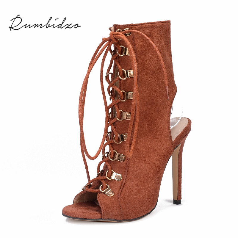 Rumbidzo Women Sandals 2018 New Cross-tied Peep Toe Lace Up Thin Heel Slingback High Heel Women Sandalias Sapatos new arrival lace up women sexy peep toe sandals cross tied slingback gladiator heel shoes street style ankle boots women shoes