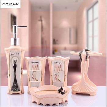 XYZLS New Arrival 5pcs/set Creative Bathroom Accessories Europe Style Resin Bath Sets Toothbrush Holder Soap Dish Dispenser