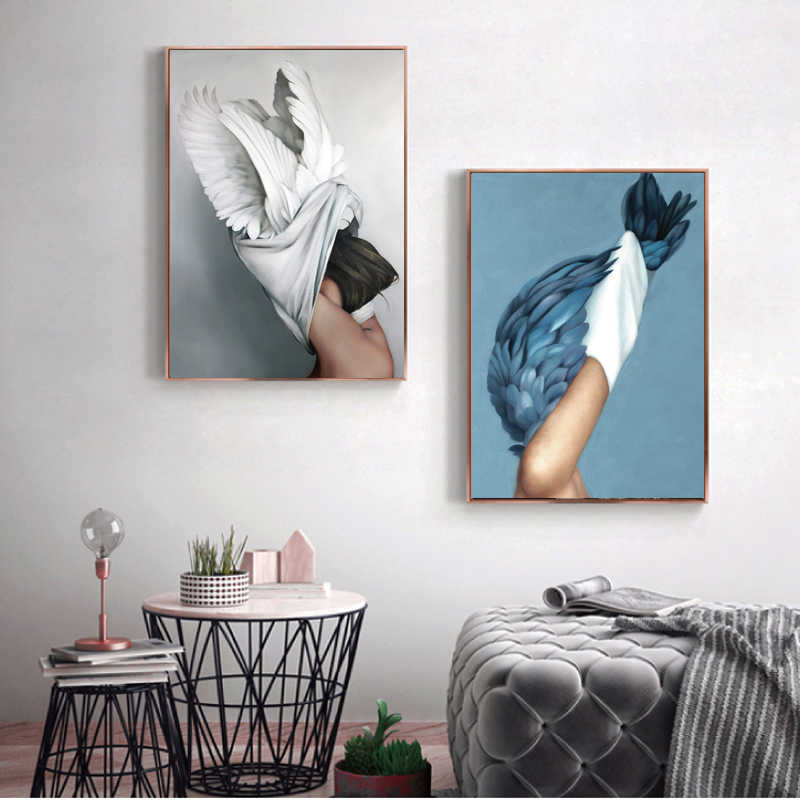 Abstract Beautiful Feather Angel Canvas Poster Women Oil Painting Canvas Giclee Classic Artwork for Living Room Bedroom Decor