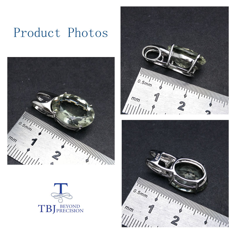 Image 4 - TBJ,simple and elegant pendant with natural green amethyst  gemstone in 925 sterling silver fine jewelry for women