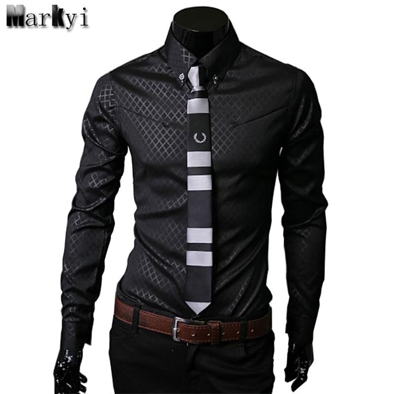 MarKyi casual men plus size 5xl slim fit social shirts 2016 famous brand mens shirt long sleeve check plaid mens dress shirts
