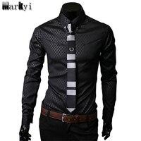 Casual Men Plus Size 5xl Slim Fit Social Shirts 2016 Famous Brand Mens Shirt Long Sleeve